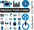 production media business icons set, vector - stock vector