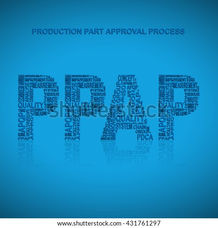 Production part approval process typography background. Blue background with main title PPAP filled by other words related with production part approval process  method. Vector illustration