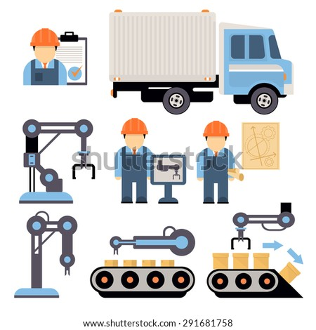 Production process , installation of engineering equipment of industrial production machine operators icons flat line Separate vector illustration - stock vector