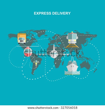 Production, transportation, delivery of cargo.  Infographics. Map. Vector illustration - stock vector