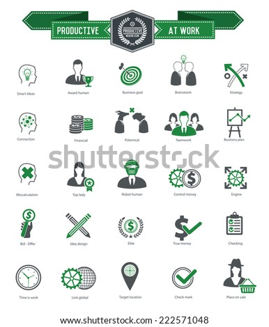 Productive at work icons on white background,green series,clean vector - stock vector