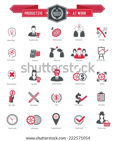Productive at work icons on white background,red series,clean vector - stock vector