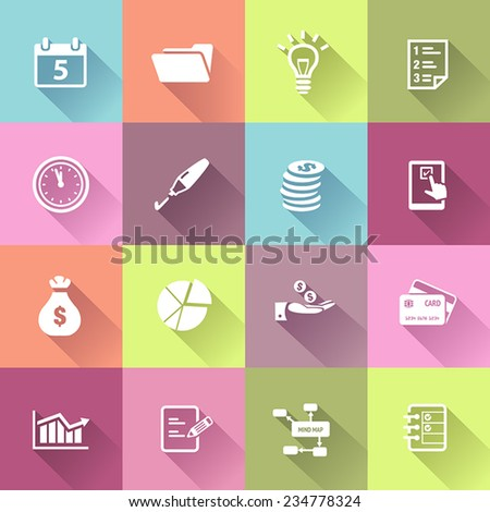 Productivity and business icons in flat design style. - stock vector