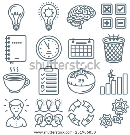 Productivity and Time Management Line Icon Collection - stock vector