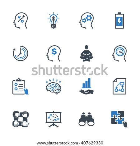 Productivity Improvement Icons Set 2 - Blue Series - stock vector