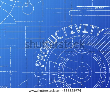 Productivity word on machine blueprint background illustration