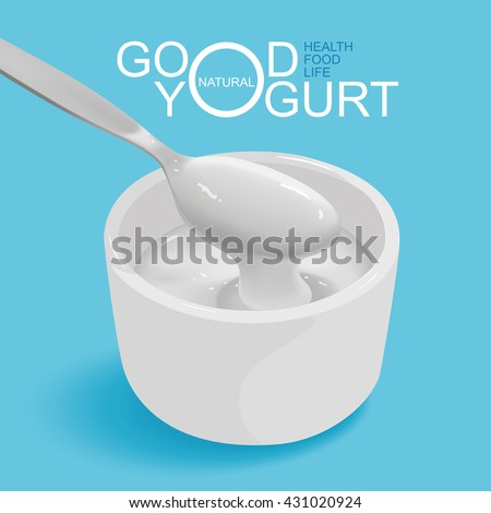 Products of dairy and yogurt, illustration design.