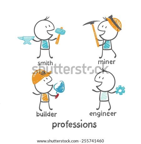 profession blacksmith, miner, builder, engineer illustration - stock vector