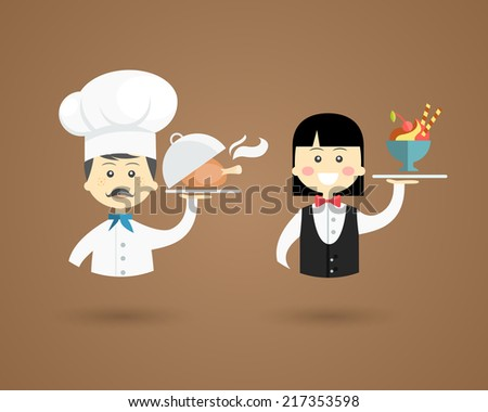 Profession character icons of a chef in a white toque holding up a plate with a steaming roast leg of meat and a waiter holding a fresh fruit dessert - stock vector