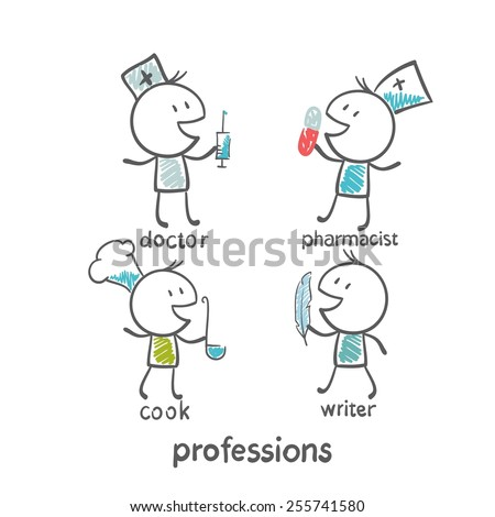 profession chef, doctor, pharmacist, writer, illustration - stock vector