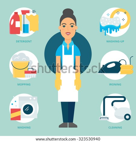 Profession: Cleaner. Vector illustration, flat style - stock vector