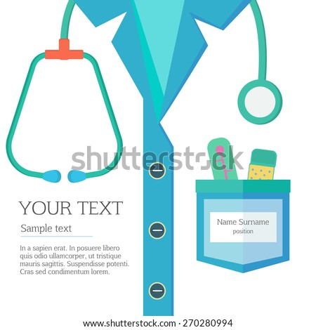 Profession concept. Closeup of person breast clothes with stethoscope and thermometer - stock vector