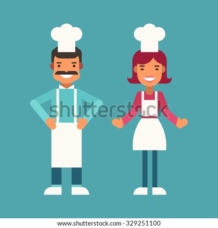 Profession Concept. Cook. Male and Female Cartoon Characters. Flat Design Vector Illustration - stock vector