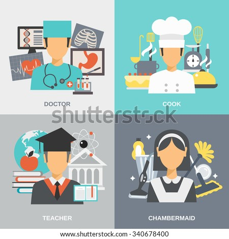 Profession design concept set with doctor cook teacher and chambermaid flat icons isolated vector illustration - stock vector