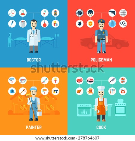 Profession design concept set with doctor policeman painter cook avatars isolated vector illustration