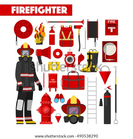 Firefighters Extinguish Fire House Isometric City Stock