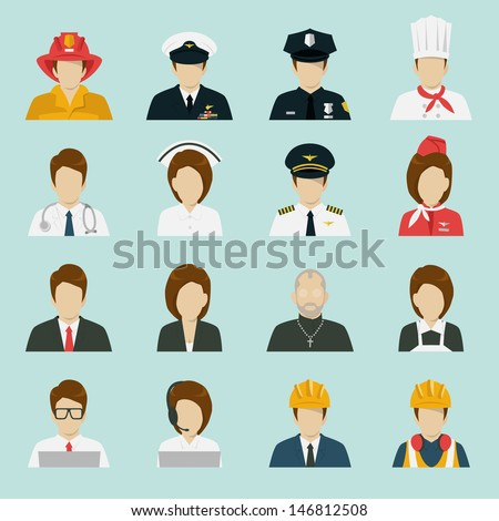 profession icons set, vector. - stock vector