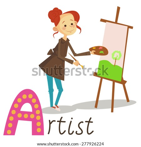 Profession/ job/ occupation Artist alphabet for kids in vector