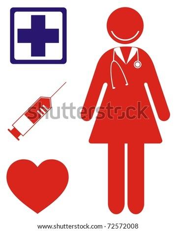profession nurse - stock vector