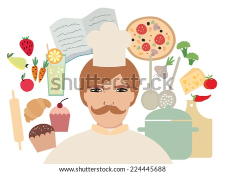 profession of chef, food icon  - stock vector
