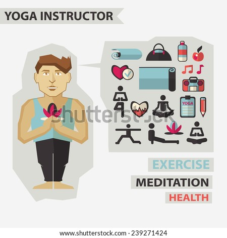 Profession of people. Flat infographic. Yoga instructor  - stock vector