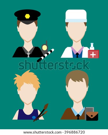 Profession people cop,  doctor, an artist, a businessman. Face men uniform. Avatars in flat design. Vector illustration