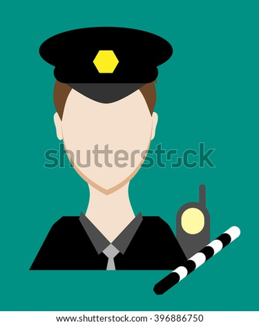 Profession people cop. Face male uniform. Avatars in flat design. Vector illustration - stock vector