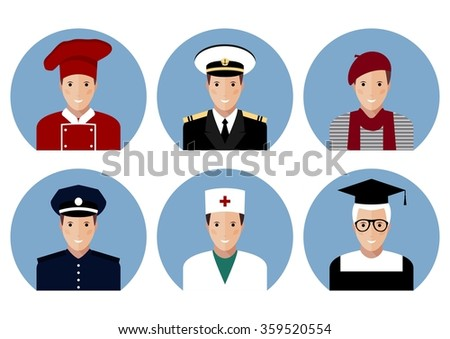 Profession people. Flat avatars of different professions, character design, vector illustration, chef, captain, artist, police, doctor, professor.