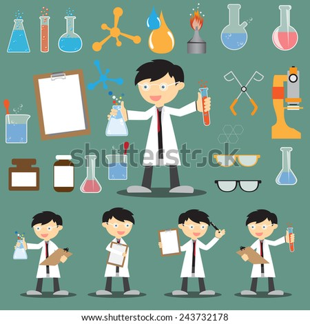 Profession scientist with icon elements of laboratory equipment test, cartoon analysis style vector illustration - stock vector