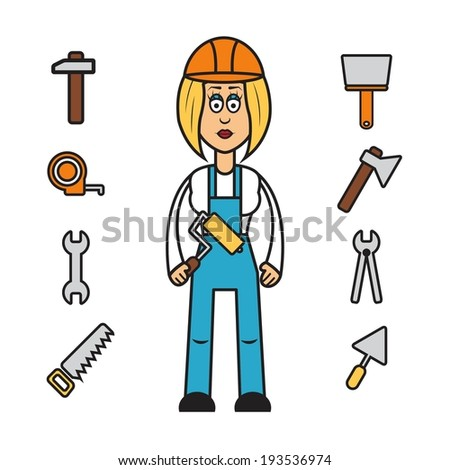 Profession set vector: builder woman in overalls and hard hat - stock vector
