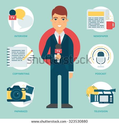 Profession: TV reporter, Journalist. Vector illustration, flat style - stock vector