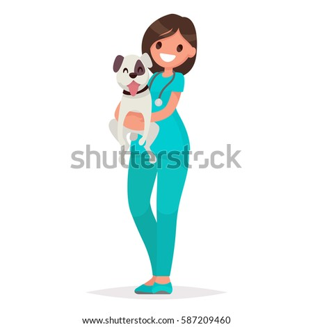 Profession veterinarian. Woman vet holds a dog on an isolated background. Vector illustration in a flat style