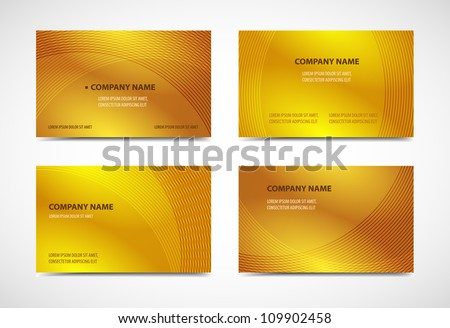 Professional and designer business card templates. Variety of uses, gold editions - stock vector