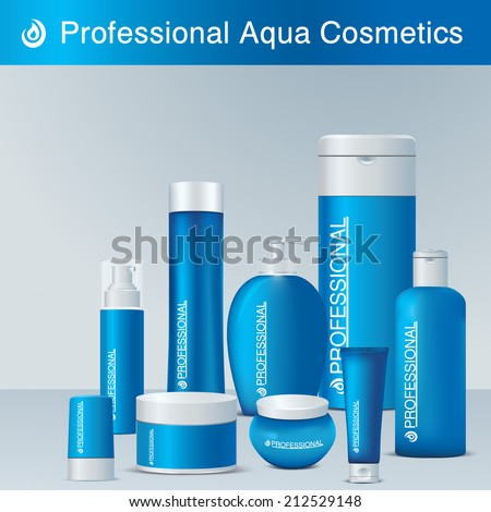 Professional aqua cosmetics. Body care products Vector set. Blue plastic package with white elements decorations. Shampoo, liquid soap, perfume, face cream, body lotion, deodorant, conditioner, lotion - stock vector