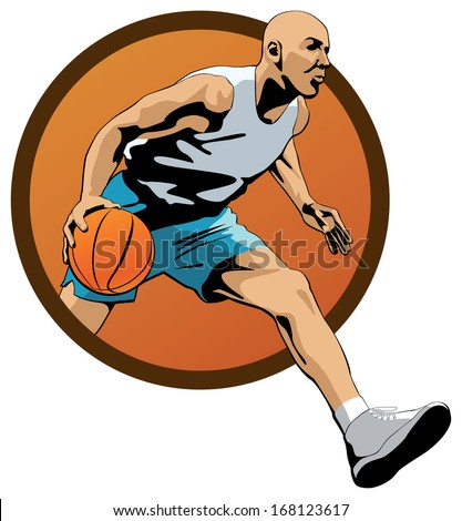 Professional Basketball Player dribbling with a ball and jumping out of orange oval frame.