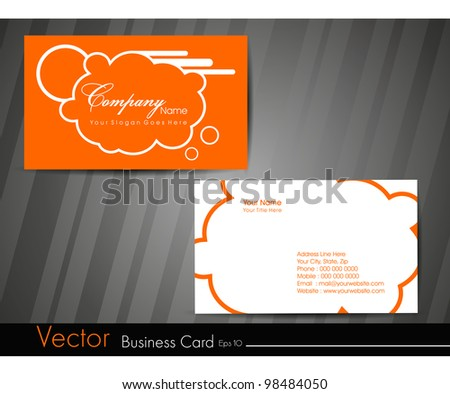 Professional business card set or visiting card set. Artistic, designer template card with funky look in orange and white color, EPS 10 Vector illustration. - stock vector
