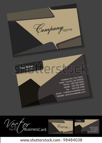 Professional business card set, template or visiting card. Artistic, abstract corporate look in dark and bright colors, EPS 10 Vector illustration. - stock vector