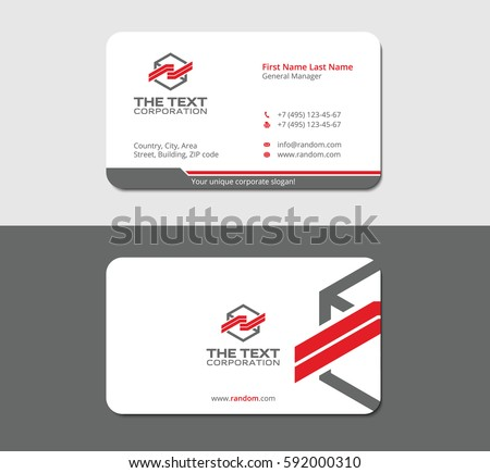 Professional business card template your corporation stock photo professional business card template for your corporation gray background in mockup reheart Gallery
