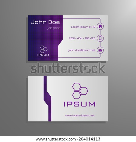 Professional business card template purple grey stock vector professional business card template in purple grey design with square pattern colourmoves