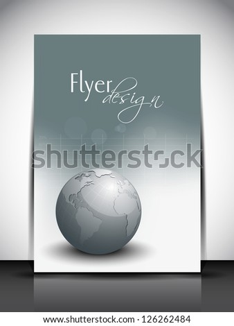 Professional business flyer template or corporate banner with globe for publishing, print and presentation. - stock vector