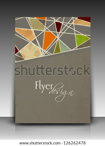 Professional business flyer template or corporate banner with retro abstract design for publishing, print and presentation. - stock vector