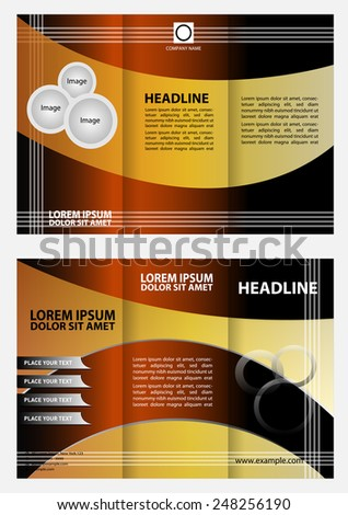 Professional business three fold flyer template, corporate brochure�  - stock vector