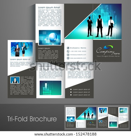 Professional business three fold flyer template, corporate brochure or cover design, can be use for publishing, print and presentation.  - stock vector