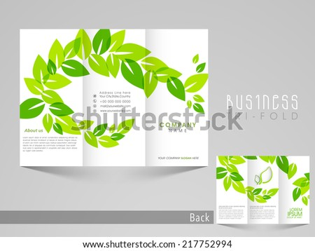 Green Leaf Organic Design Trifold Brochure Vector 206505907 – Three Fold Flyer Template