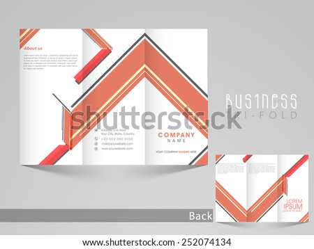 Professional business tri-fold, flyer, template, or brochure with abstract design in front and back page presentation. - stock vector