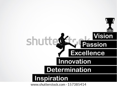 professional businessman running up the stairs with the text inspiration, determination, innovation, excellence, passion, vision with a bright white background - concept design vector illustration art - stock vector