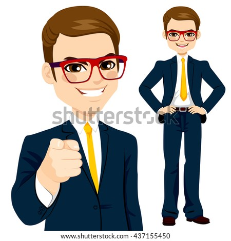 Professional businessman wearing suit and pointing finger - stock vector