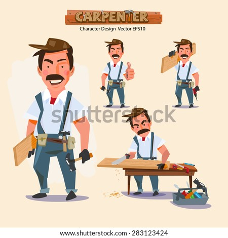 professional carpenter in various action with typographic. careers character design - vector illustration - stock vector