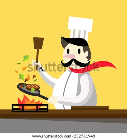 Professional chef cooking. flat design character. vector illustration - stock vector