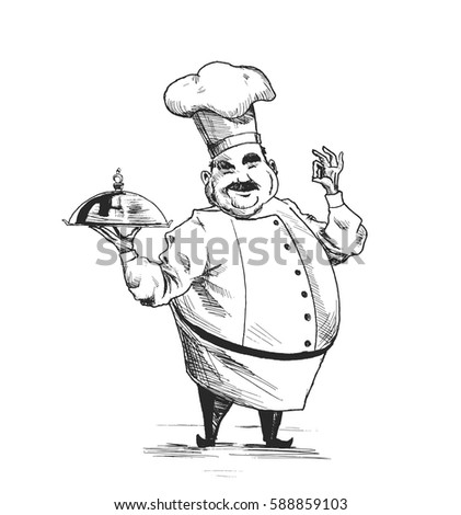 Professional chefs cooking. Culinary chefs. Hand Drawn Sketch Vector illustration.